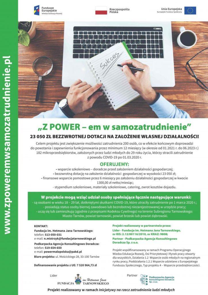 """Plakat projektu """"Z POWER-em w samozatrudnienie"""""""