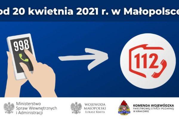 Plakat - przejęcia obsługi numeru alarmowego 998 przez numer 112.